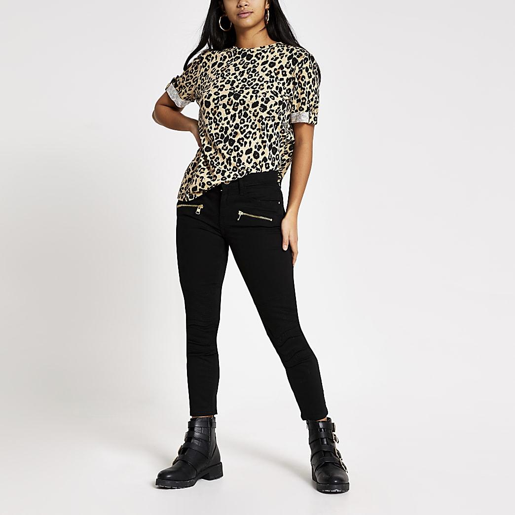 Petite black skinny zip front biker jeans