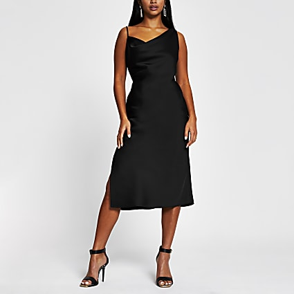 Petite black sleeveless cami midi slip dress
