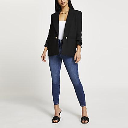 Petite black soft blazer