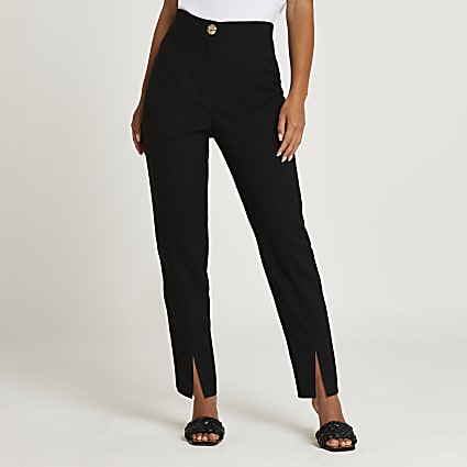 Petite black split front cigarette trousers