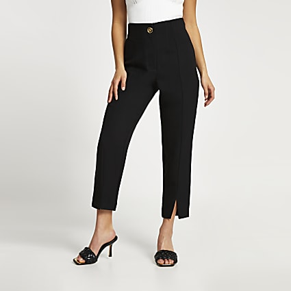 Petite black split front cigarette trousers