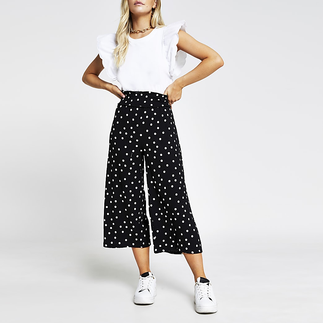 Petite black spot culotte trouser