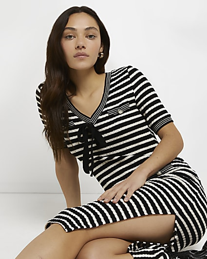 Petite black stripe knitted mini dress