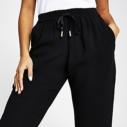 Petite black tailored jogger