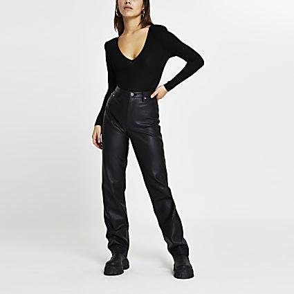 Petite black v neck shoulder pad bodysuit