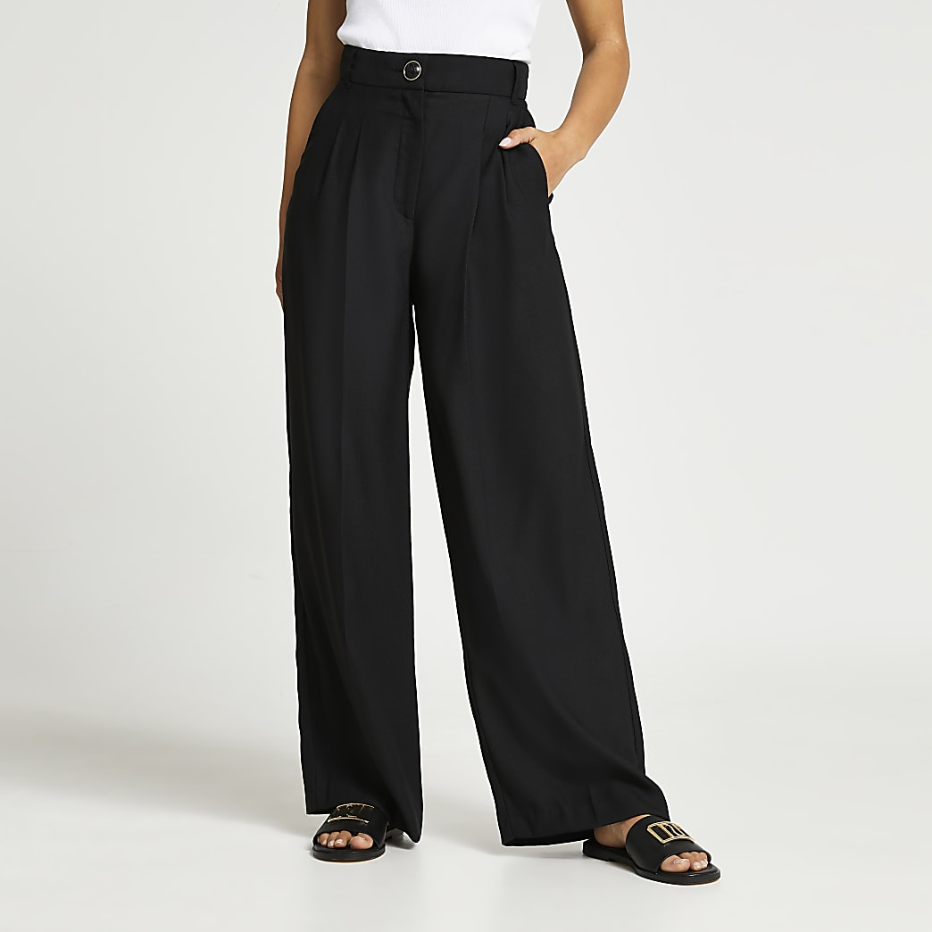 Petite black wide leg pleat front trousers