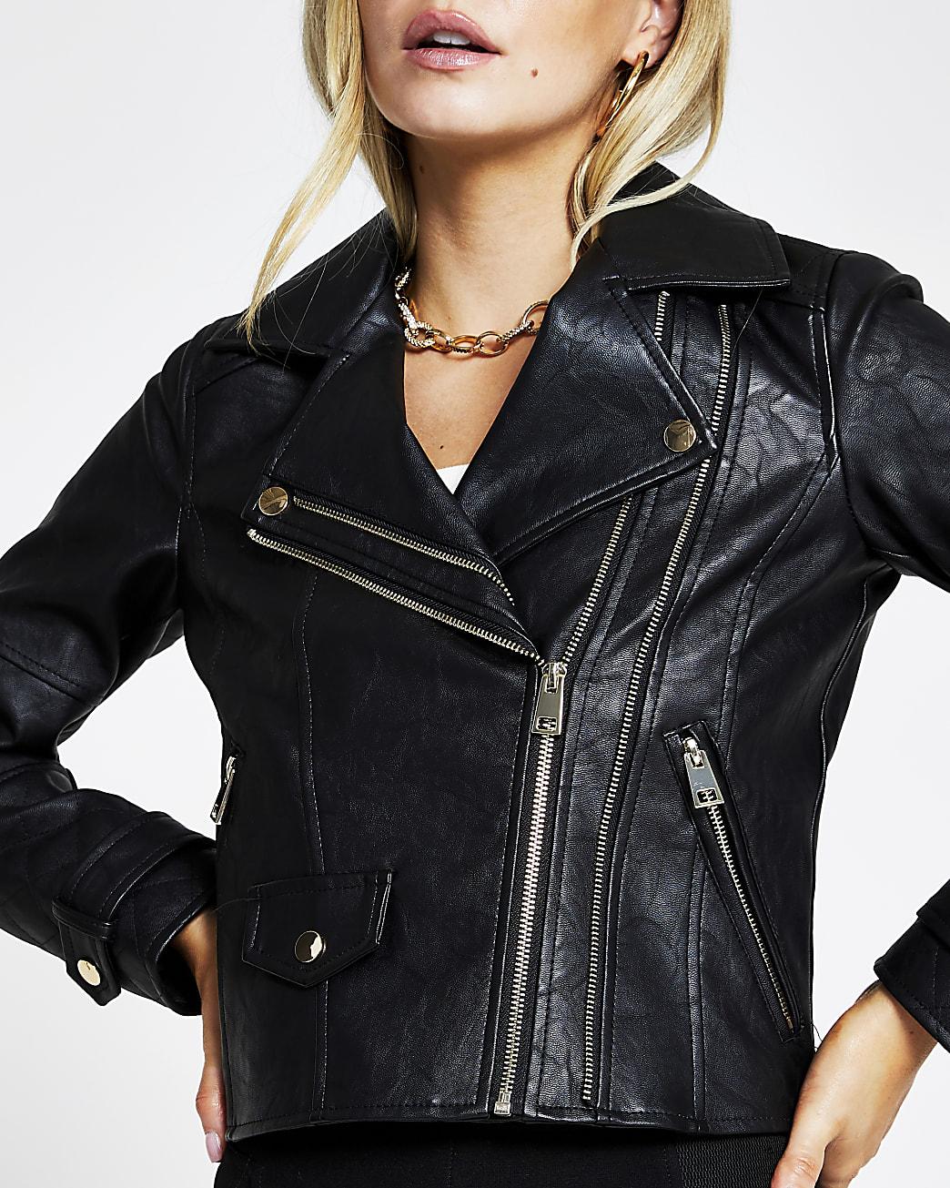 Petite black zip faux leather biker jacket