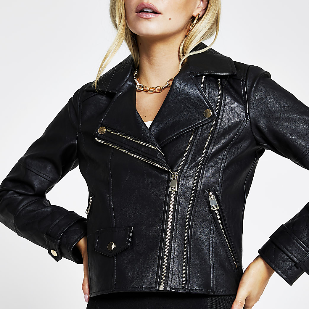 Petite black zip faux leather biker jacket