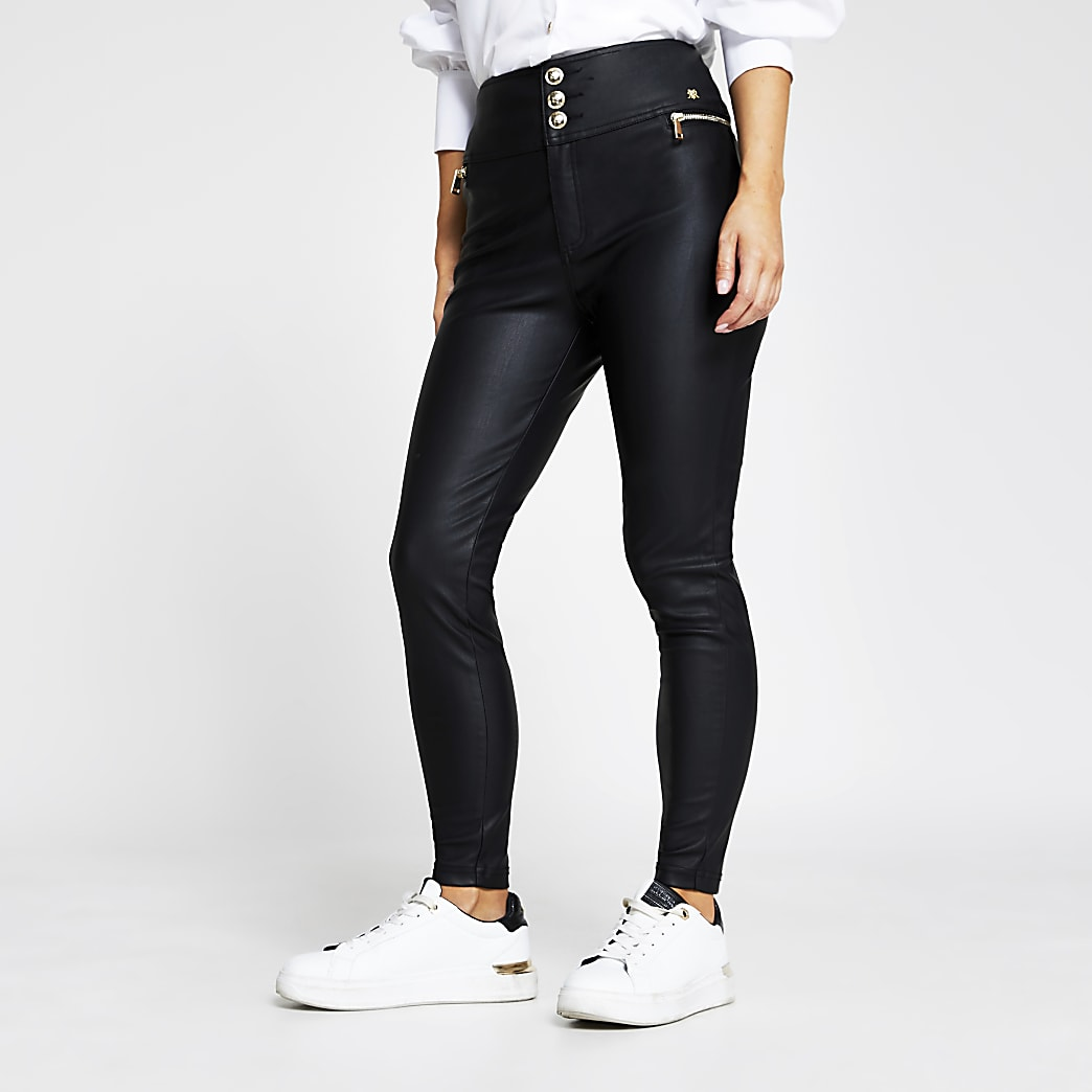 Petite black zip pocket PU skinny trousers