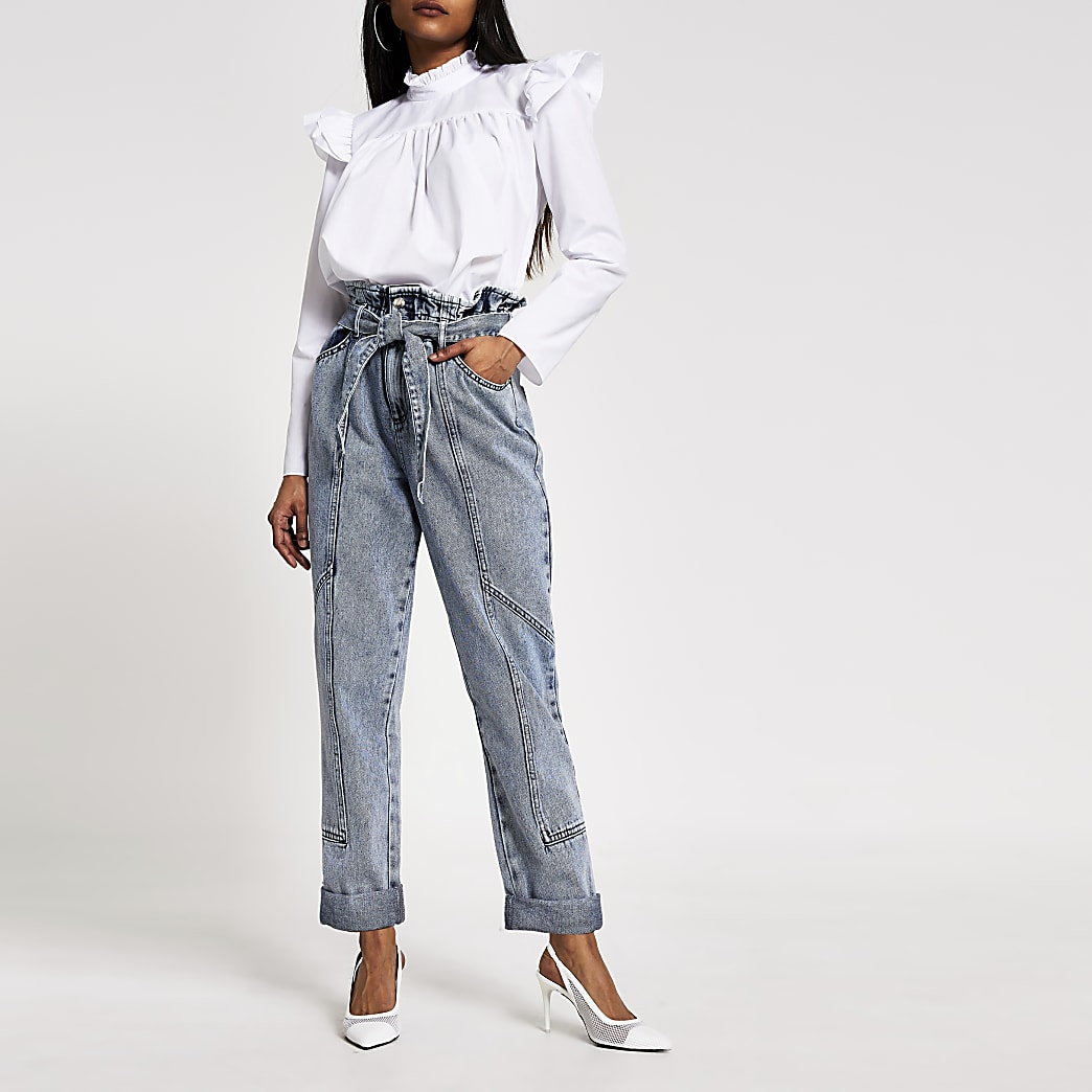 Petite blue acid wash paperbag Mom jeans