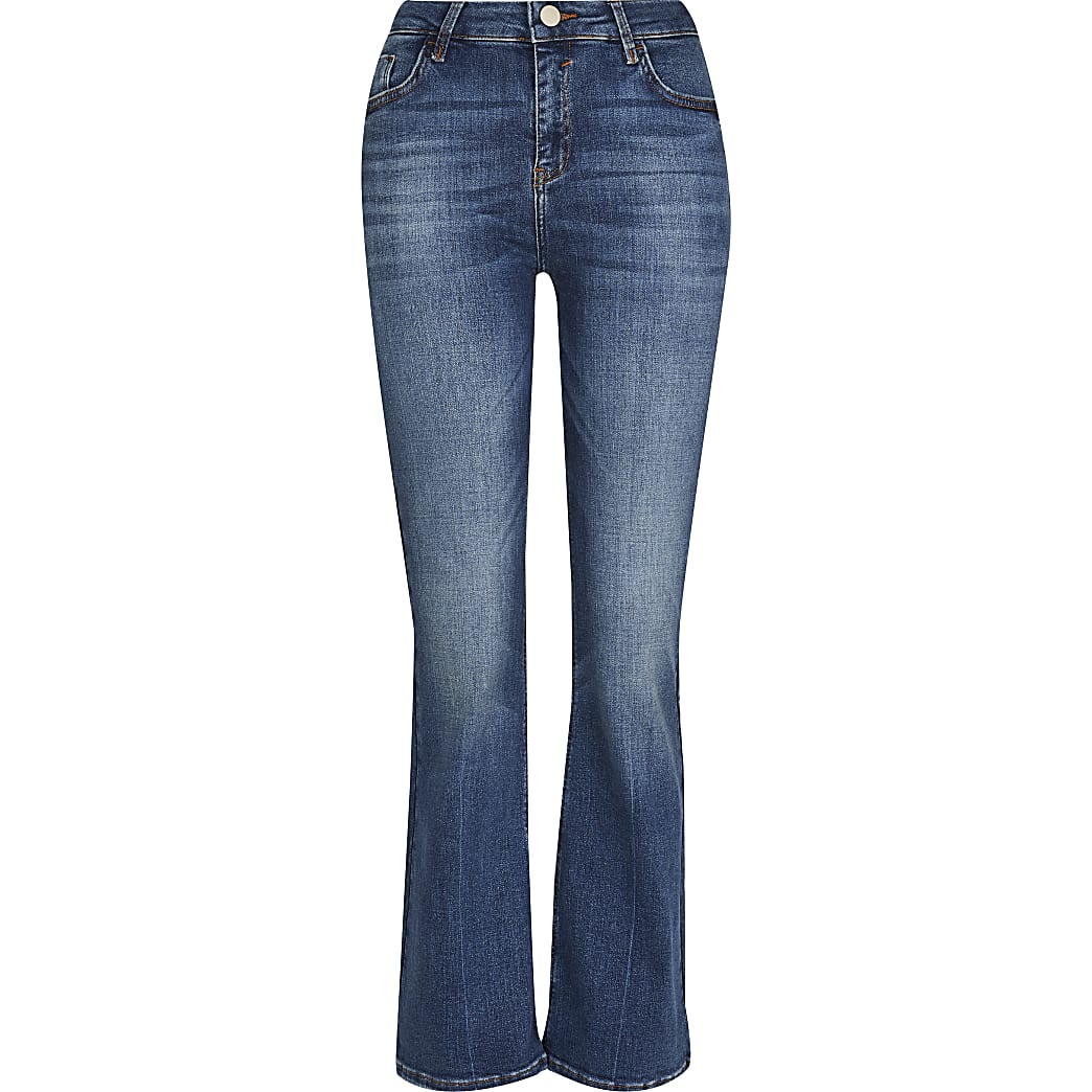 Petite blue Amelie flare skinny jeans