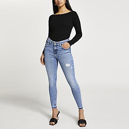 Petite blue Amelie mid rise rip skinny jeans