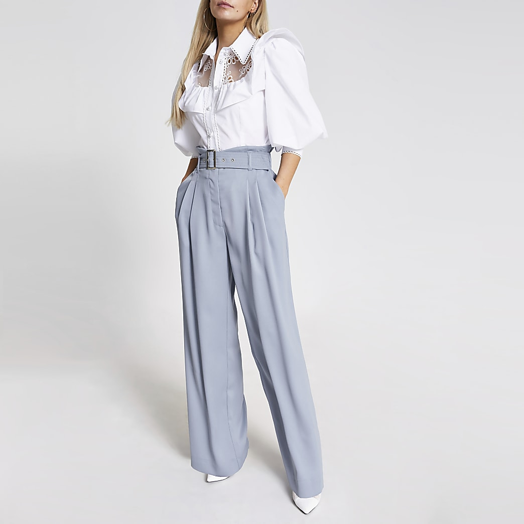 Petite blue belted wide leg trousers