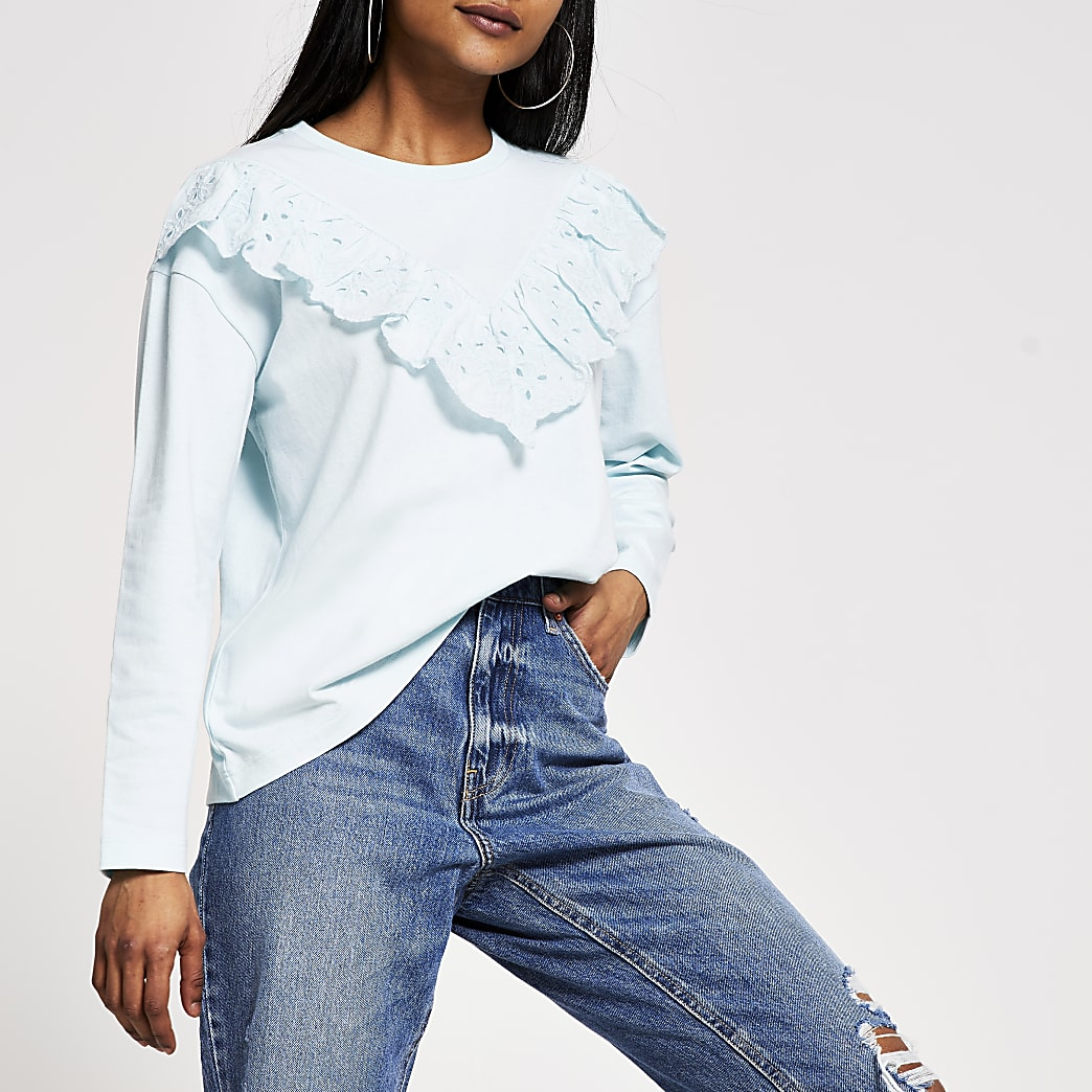 Petite blue broderie long sleeve T-shirt