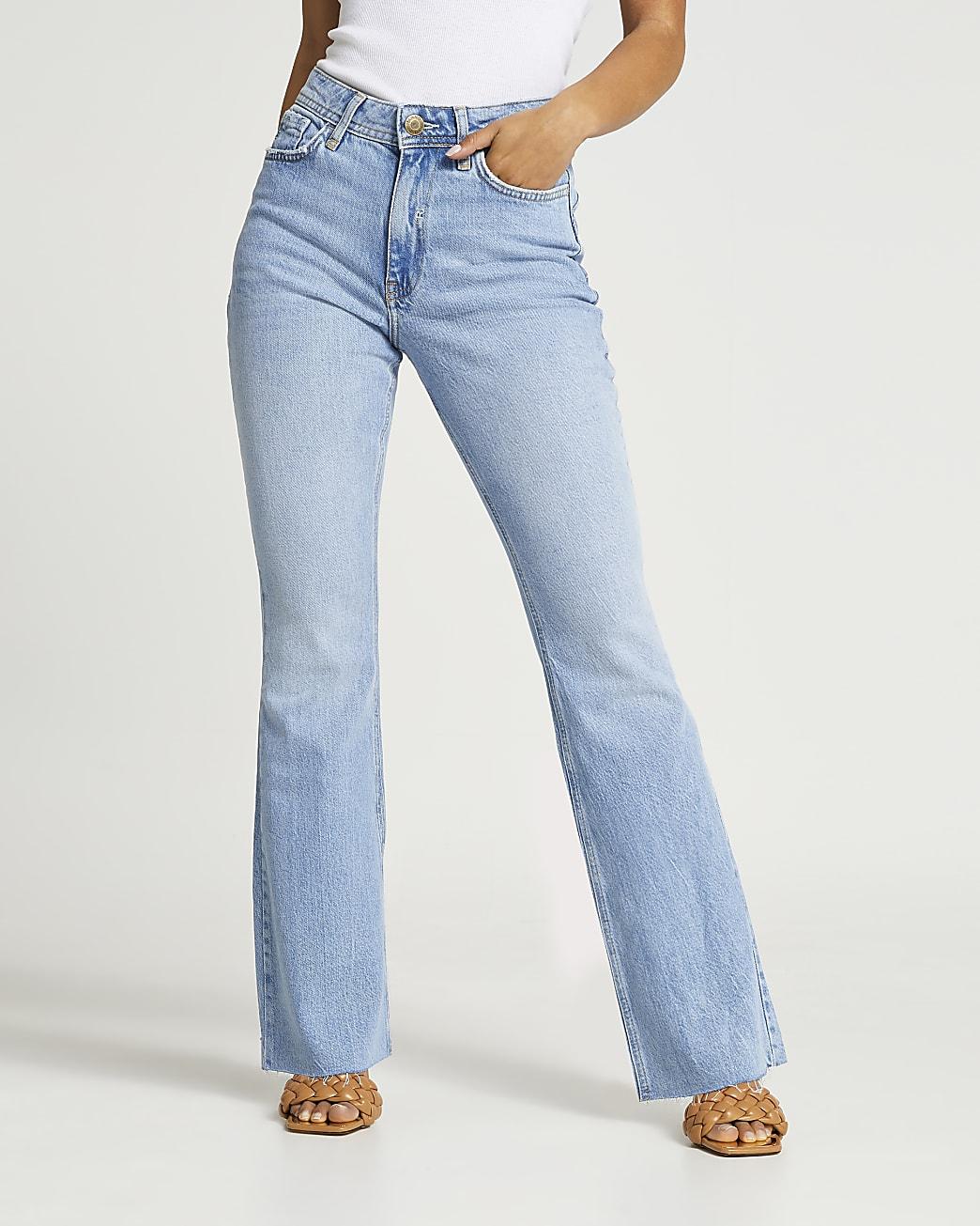 Petite blue bum sculpt flared jeans