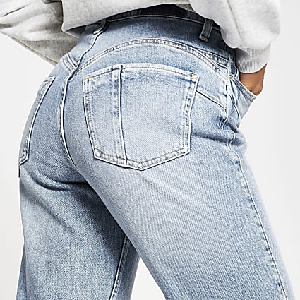 Petite blue Carrie comfort shape mom jeans