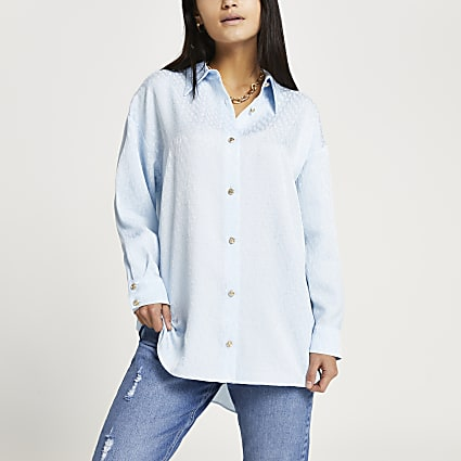 Petite blue cinched In oversized shirt