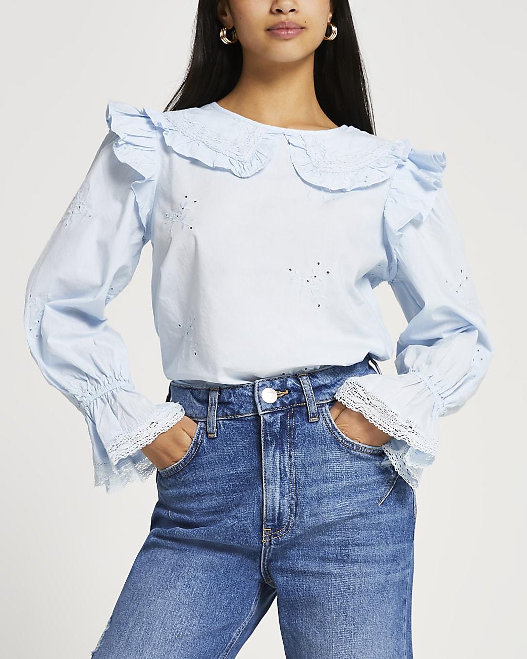 Petite blue collar neck frill blouse top