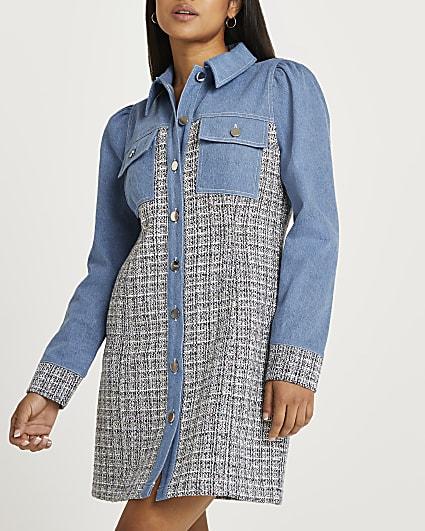 Petite blue denim and boucle mini dress