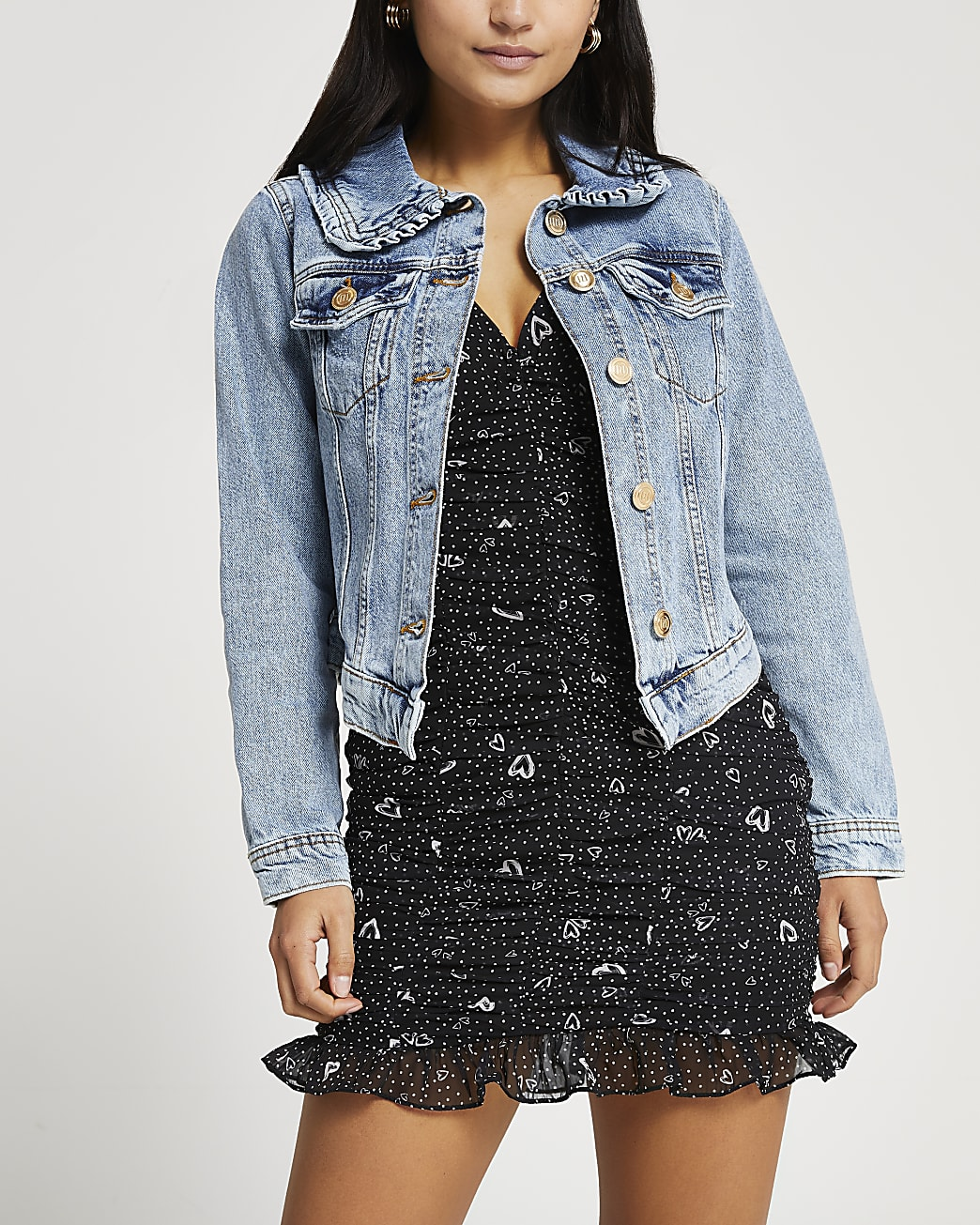 Petite blue denim collared fitted jacket