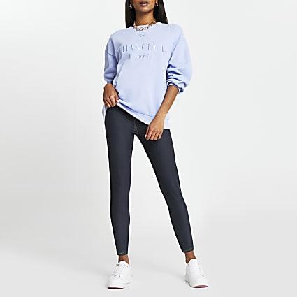 Petite blue denim look high waist leggings