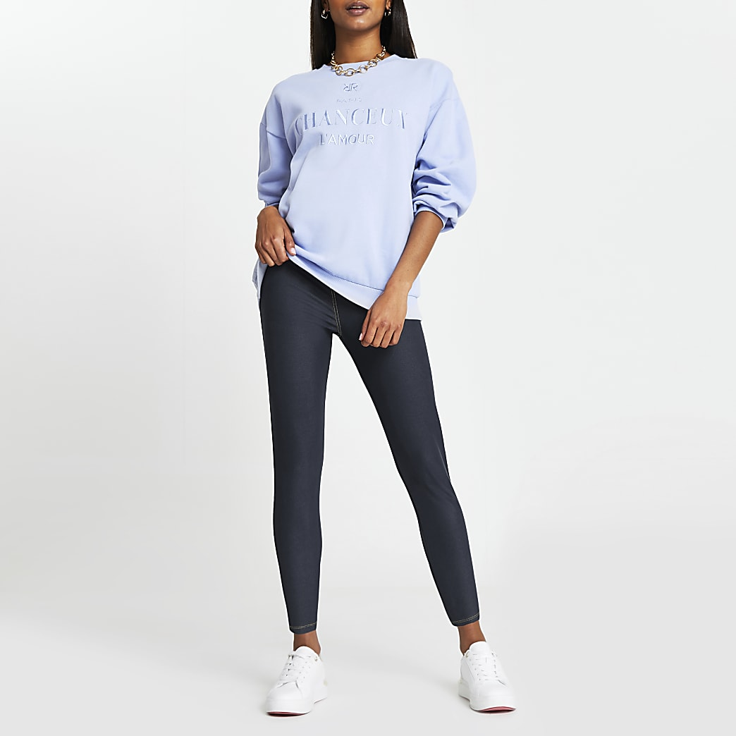 Petite blue denim look high waist leggings