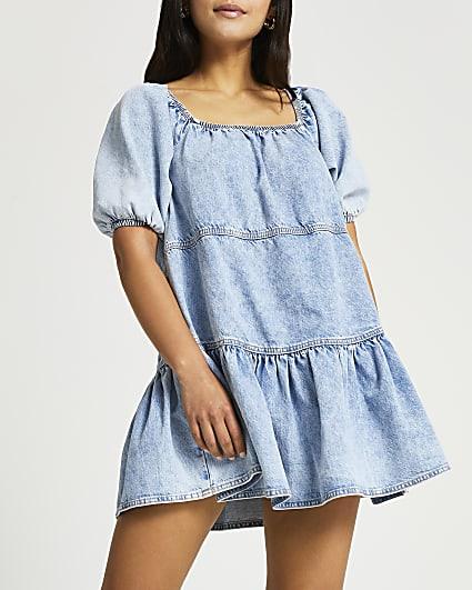 Petite blue denim smock dress