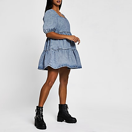 Petite blue denim smock tiered dress