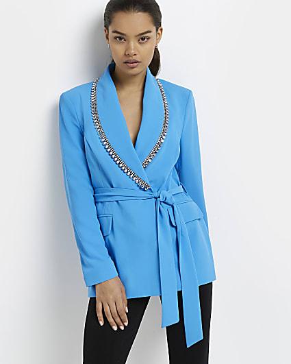Petite blue diamante trim belted blazer