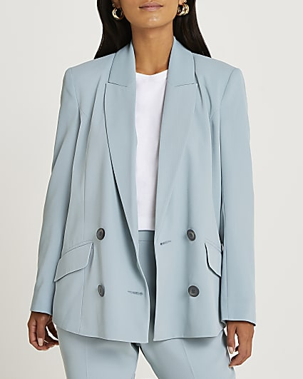 Petite blue double breasted blazer