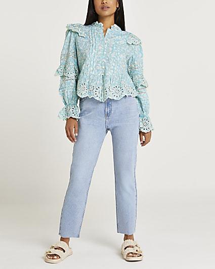 Petite blue floral print broderie trim blouse