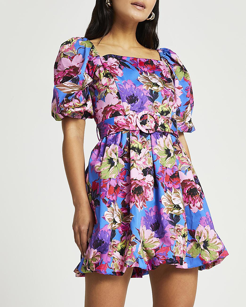 Petite blue floral puff sleeve mini dress