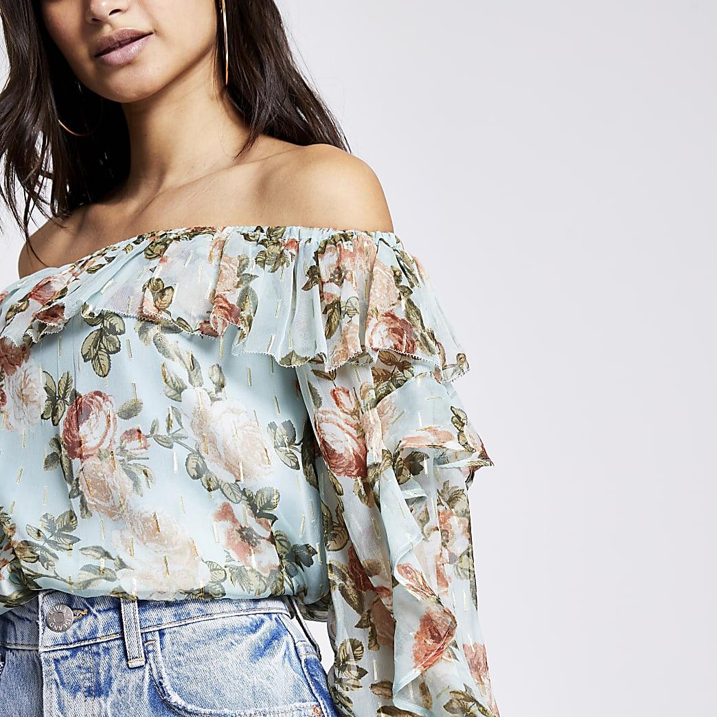 Petite blue floral ruffle bardot blouse