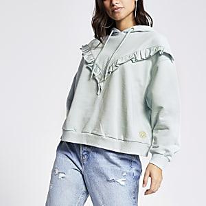 RI Petite - Blauwe geribbelde crop hoodie met ruche