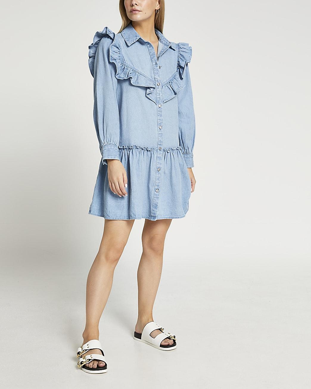 Petite blue frill detail shirt dress