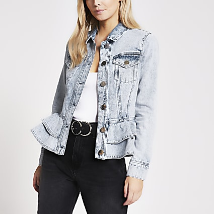 Petite blue frill hem fitted denim jacket