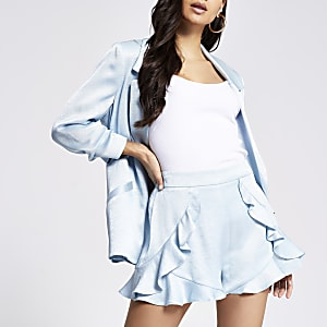 RI Petite - Blauwe shorts met franje