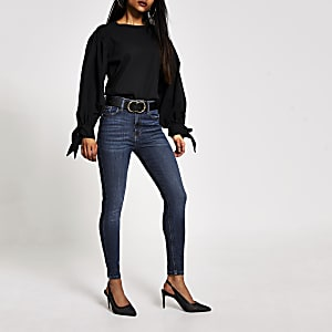 Petite blue Hailey high rise skinny jeans