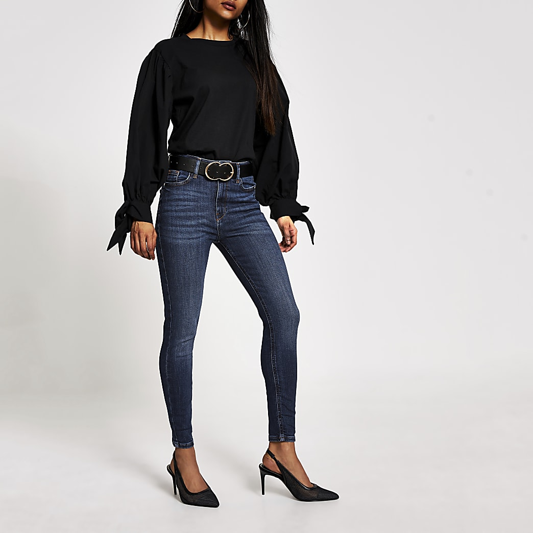 RI Petite - Hailey - Blauwe high rise skinny jeans