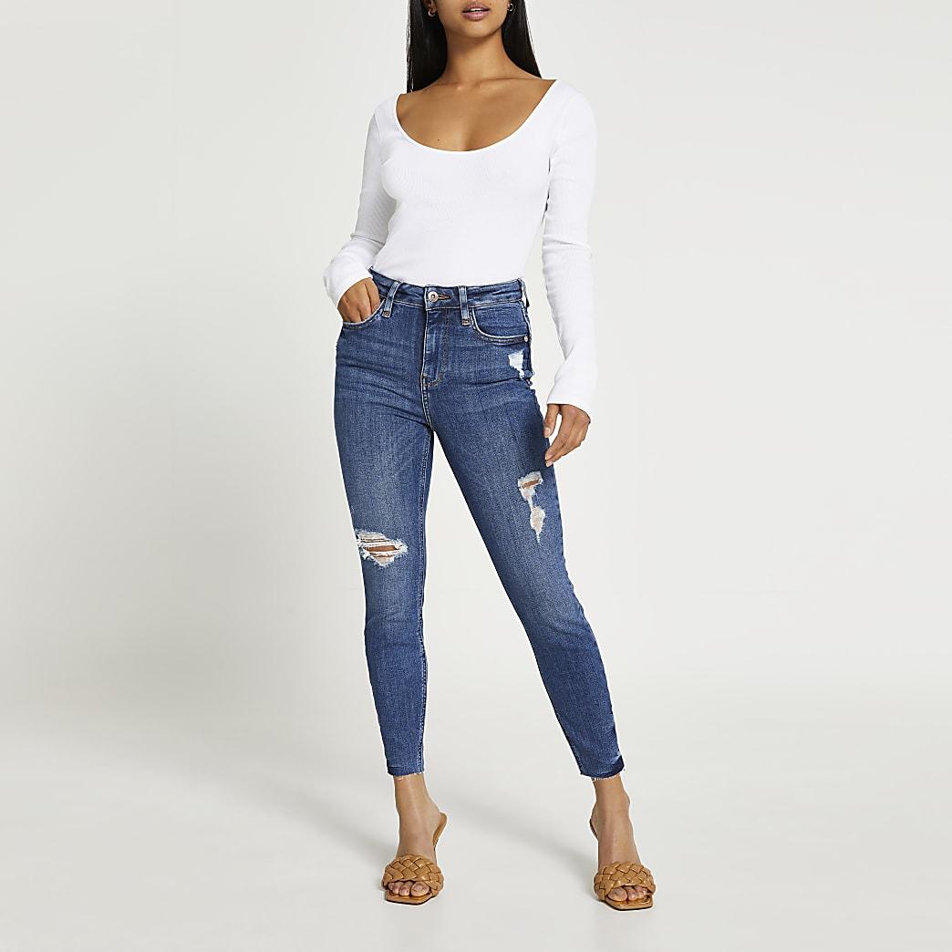 Petite blue high rise bum sculpt skinny jeans