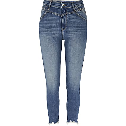 Petite blue high rise denim skinny jeans