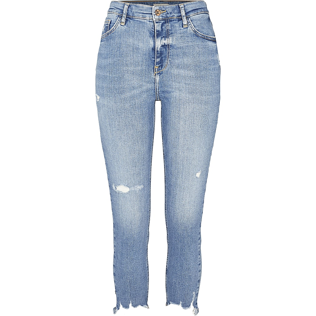 Petite blue high rise ripped skinny jeans
