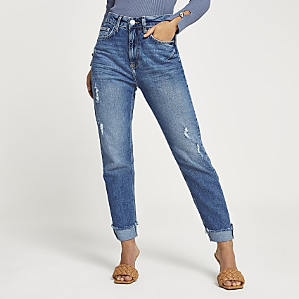 Petite blue high rise sculpt ripped mom jeans