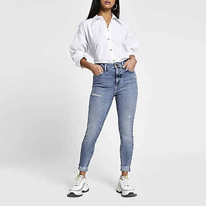 Petite blue high rise skinny denim jeans