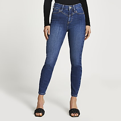 Petite blue high rise skinny jeans