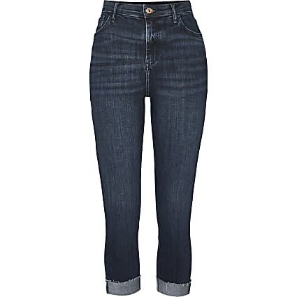 Petite blue high rise turn up skinny jeans
