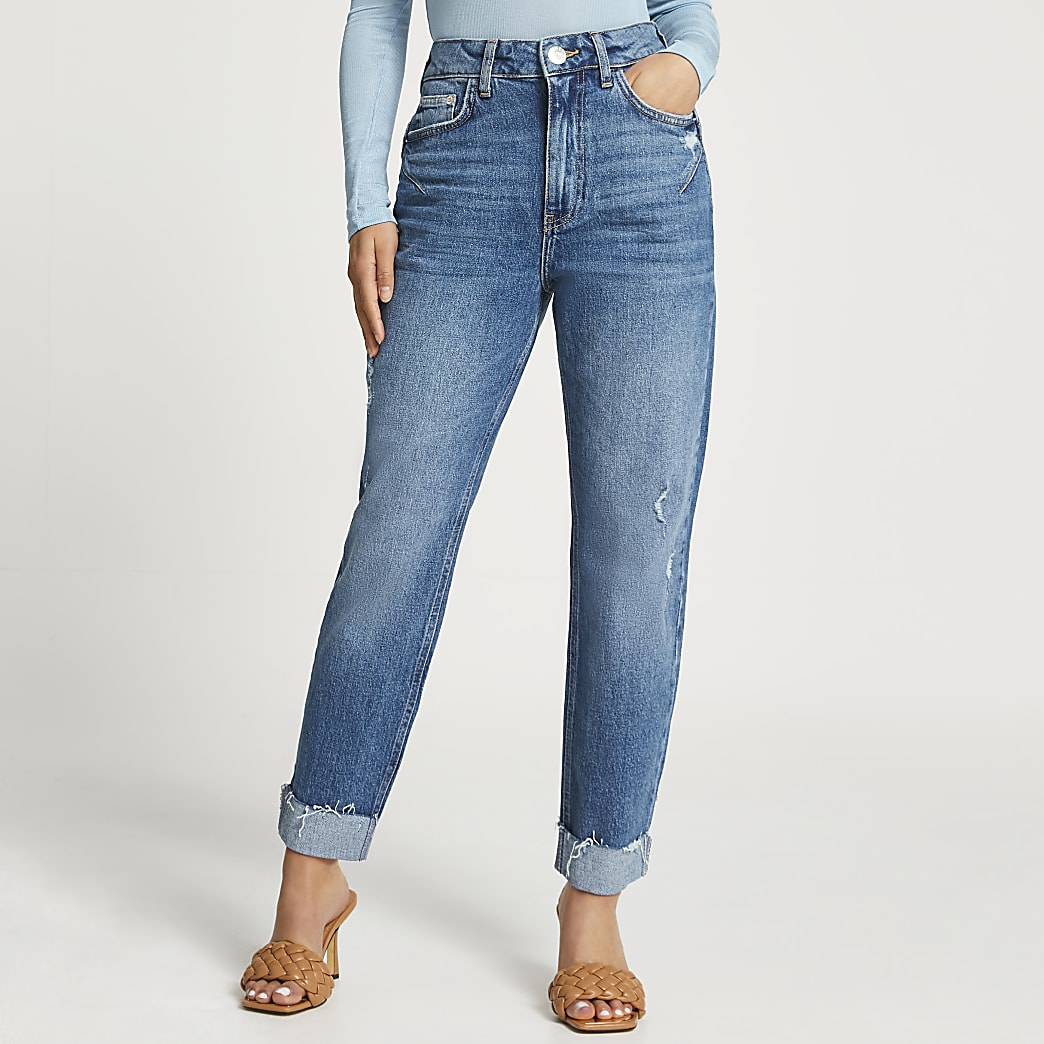 Petite Blue high waisted mom jean