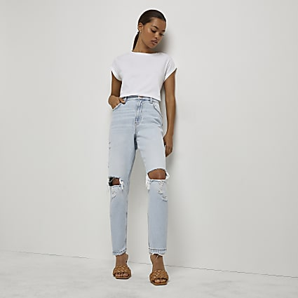 Petite blue high waisted ripped mom jeans