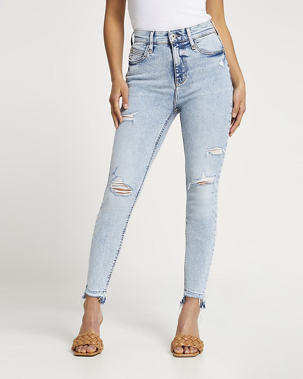 Petite blue high waisted ripped skinny jeans