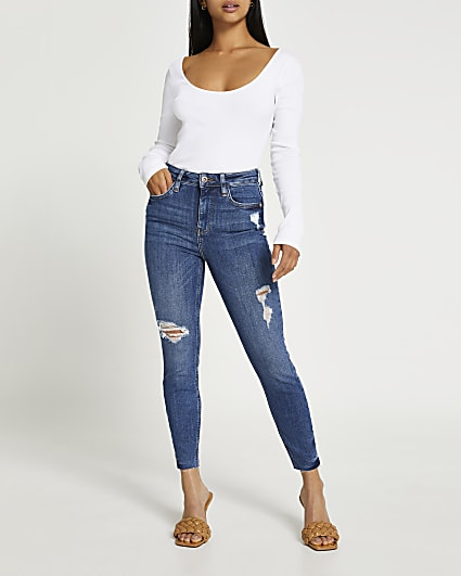 Petite blue high waisted sculpt skinny jeans